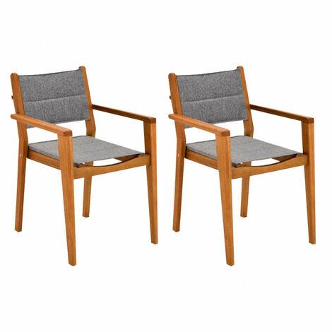 Lot de 2 chaises de jardin avec accoudoirs - GABY 0428 - Gris