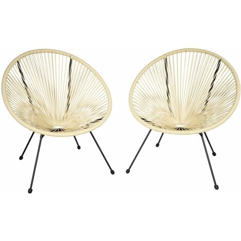 Lot de 2 chaises de jardin beige - Beige