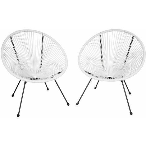 Lot de 2 chaises de jardin blanc - Blanc