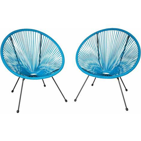 Lot de 2 chaises de jardin bleu - Bleu