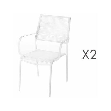 Acier 2 De Blanc Chaises Cm En 5x55x84 Lot Jardin 62 Empilables ON8n0wPXk