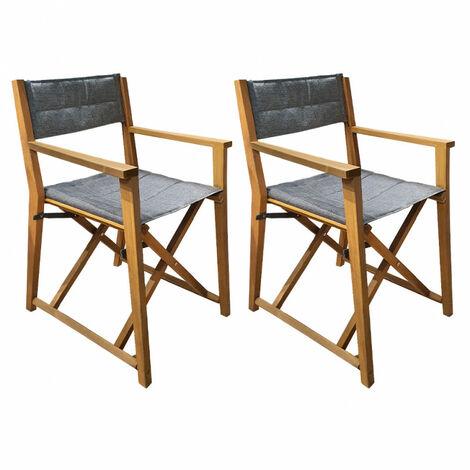 Lot de 2 chaises de jardin en acacia - CENA 0305 - Gris