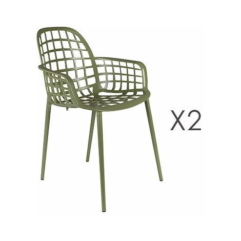 Chaises De Aluminium Kuip En Lot 2 Vert Jardin 5j34ALR