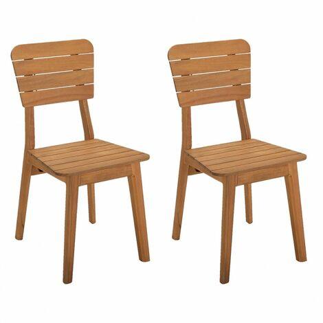 Lot de 2 chaises de jardin en bois d'acacia massif - MAISY 3483 - Bois