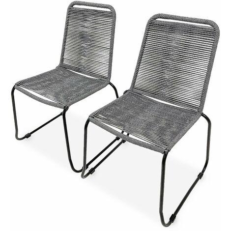 Lot de 2 chaises de jardin en corde BRASILIA, gris chiné, empilables, extérieur