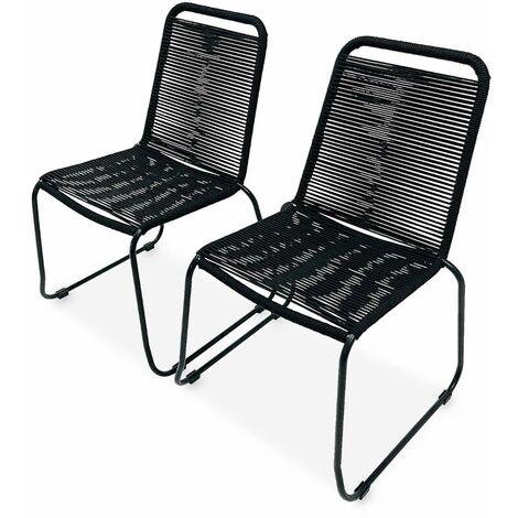 Lot de 2 chaises de jardin en corde BRASILIA, noir, empilables, extérieur