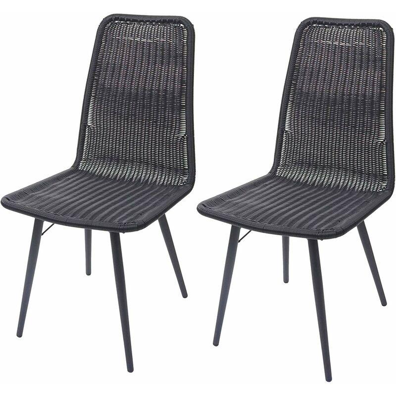 Lot de 2 chaises de jardin en poly rotin noir - noir