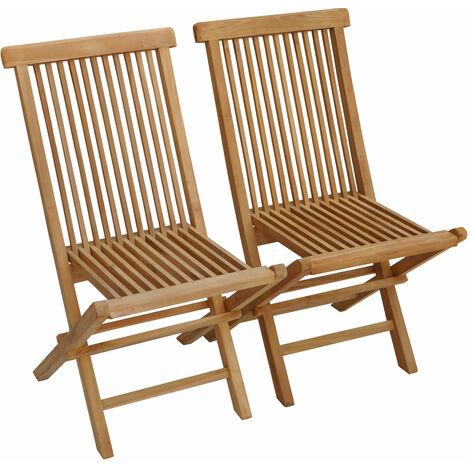 Lot de 2 chaises de jardin en teck LOMBOK