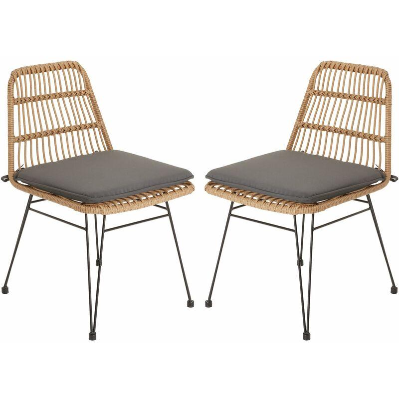 Idimex - Lot de 2 chaises de jardin ENJOY imitation rotin, fauteuil pour terrasse ou balcon en polyrattan résistant aux UV et métal noir