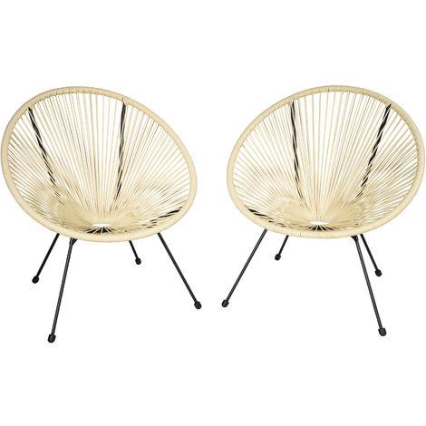 Lot de 2 chaises de jardin GABRIELLA - fauteuil acapulco, chaise acapulco, chaise