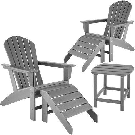 Lot de 2 chaises de jardin JANIS avec 2 repose-pieds JOPLIN et table KAMALA - fauteuil de jardin, fauteuil extérieur, chaise extérieur