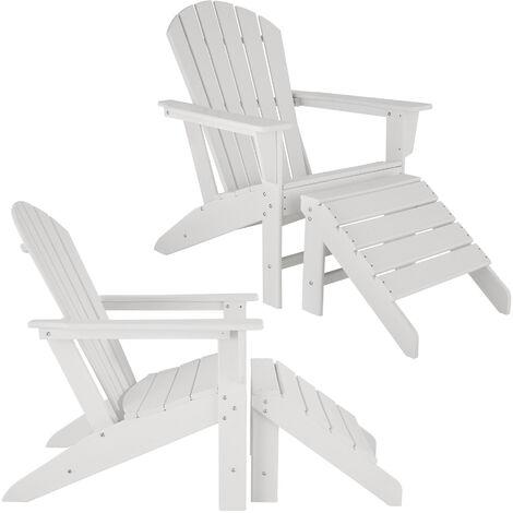 Lot de 2 chaises de jardin JANIS avec repose-pieds JOPLIN - fauteuil avec repose-pieds, ensemble mobilier de jardin, chaise avec repose-pieds