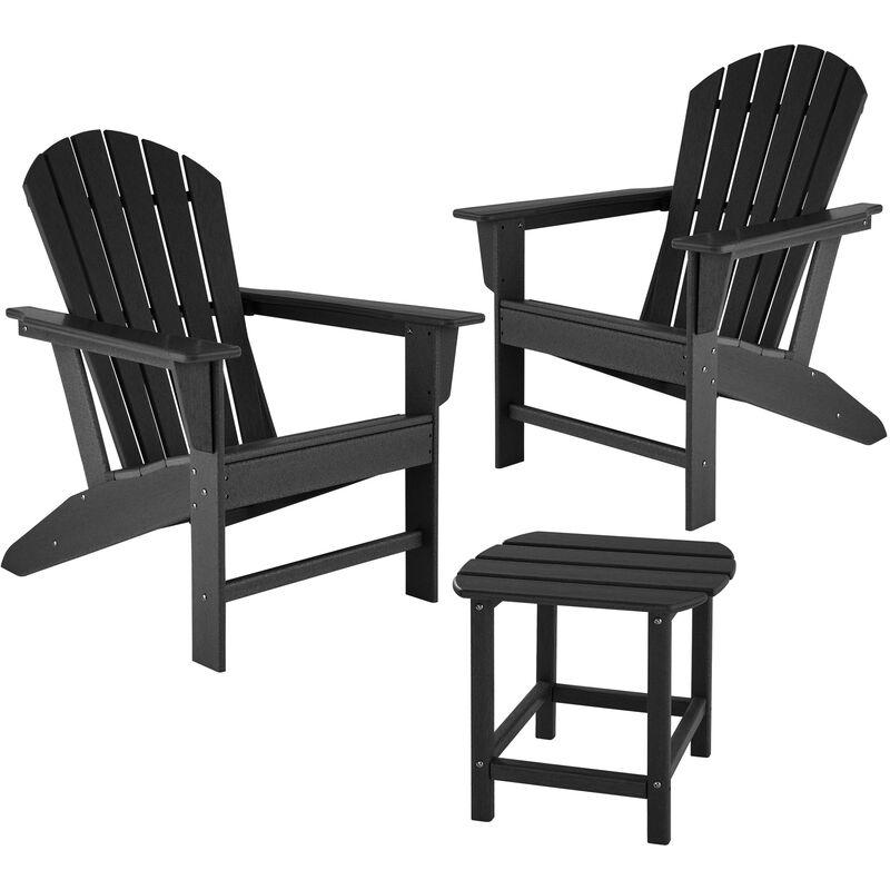 Tectake - Lot de 2 chaises de jardin JANIS avec table KAMALA - fauteuil de jardin, fauteuil extérieur, chaise extérieur - noir