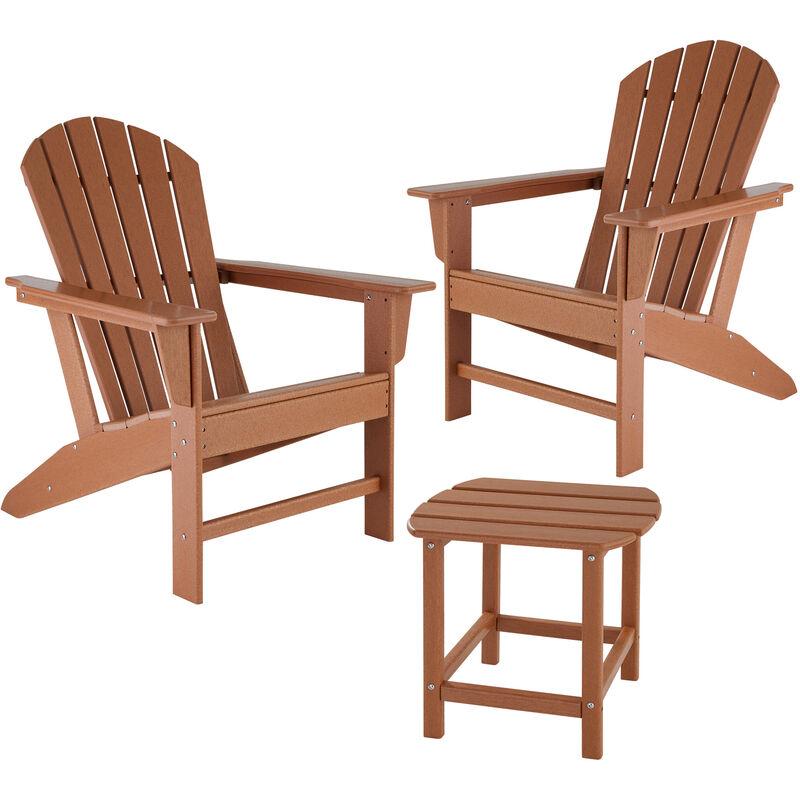 Tectake - Lot de 2 chaises de jardin JANIS avec table KAMALA - fauteuil de jardin, fauteuil extérieur, chaise extérieur - marron