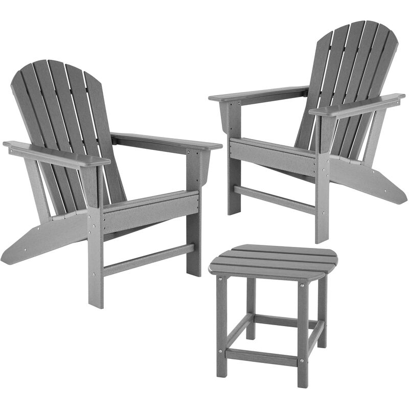 Tectake - Lot de 2 chaises de jardin JANIS avec table KAMALA - fauteuil de jardin, fauteuil extérieur, chaise extérieur - gris