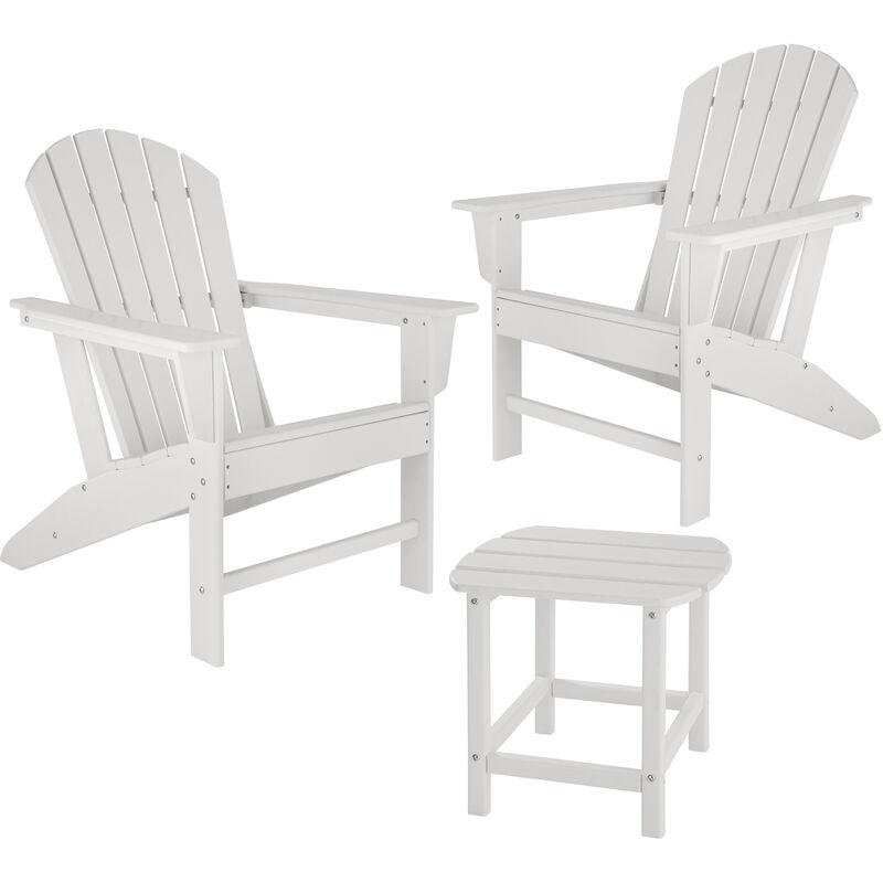 Tectake - Lot de 2 chaises de jardin JANIS avec table KAMALA - fauteuil de jardin, fauteuil extérieur, chaise extérieur - blanc