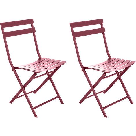 Lot de 2 Chaises de jardin métal pliante Greensboro Marsala - Hesperide