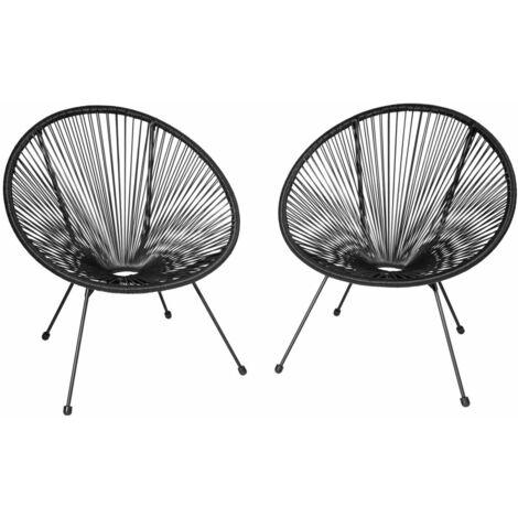 Lot de 2 chaises de jardin noir - Noir