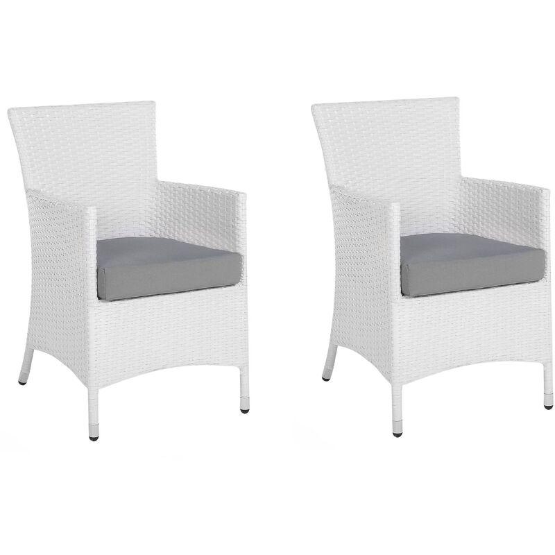 Beliani - Lot de 2 fauteuils de jardin en rotin blanc avec coussins gris ITALY