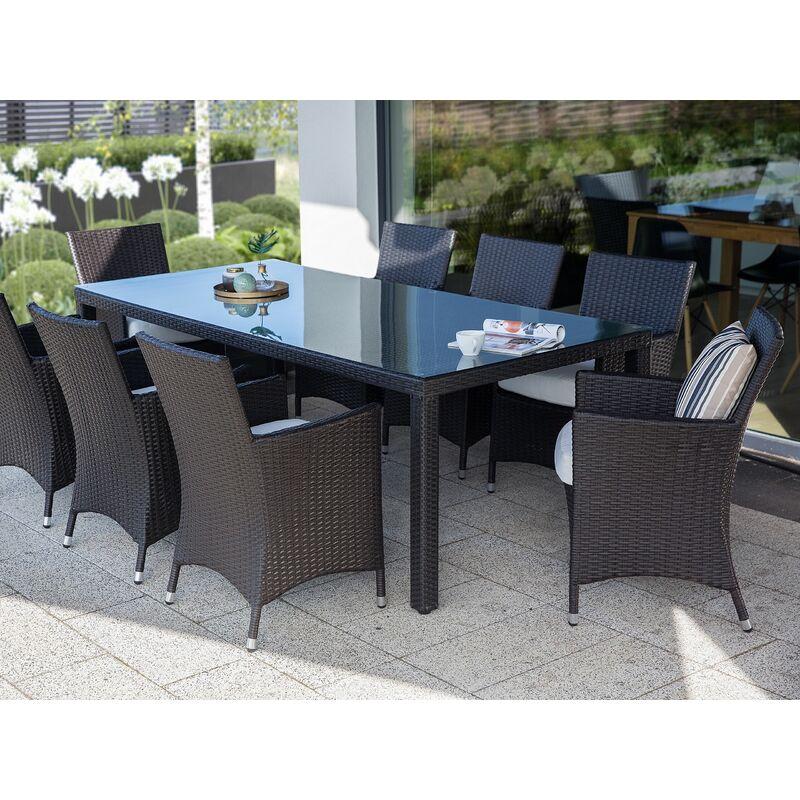 Lot de 2 chaises de jardin ou terrasse en rotin foncé avec assise blanche