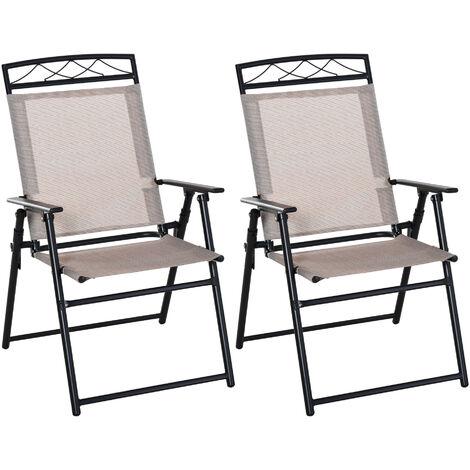"""main image of """"Lot de 2 chaises de jardin pliantes avec accoudoirs métal noir textilène beige"""""""