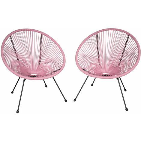Lot de 2 chaises de jardin rose - Rose