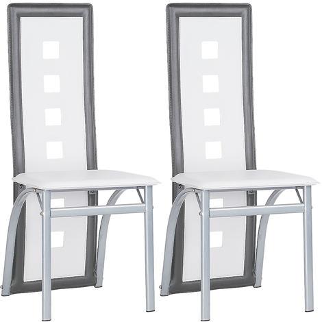 Lot de 2 chaises de salle à manger - blanc et gris - Style contemporain