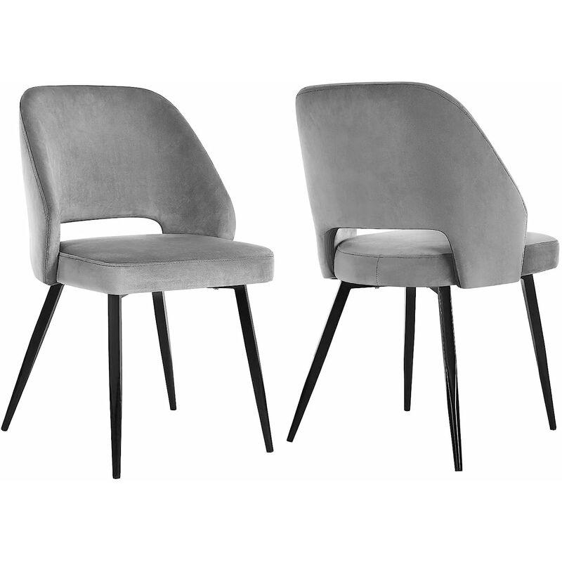 Lot de 2 Chaises de Salle à Manger, Chaise de Loisirs Moderne en Velours, Chaise de Cuisine Rembourrée avec Pieds en Métal, pour Salon, VertRoseGris