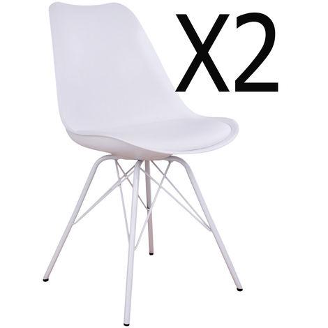 Lot de 2 Chaises de salle à manger coloris blanc en PU - Dim : 55 x 48 x 86 cm -PEGANE-