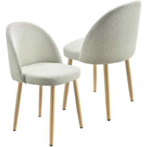 Lot de 2 Chaises de Salle à Manger Designs Métal Polyester Beige 76 x 44 x 55 cm