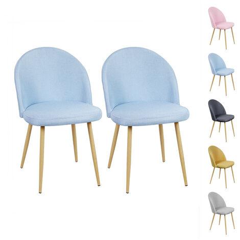 Lot de 2 Chaises de salle à manger - Métal revêtu de tissu - Scandinave - L 50 x P 50 cm