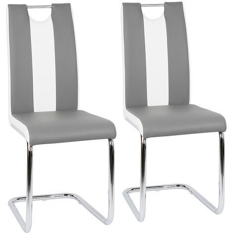 Lot de 2 chaises de salle à manger - Simili Gris et blanc - Style contemporain - L 43 x P 58 cm