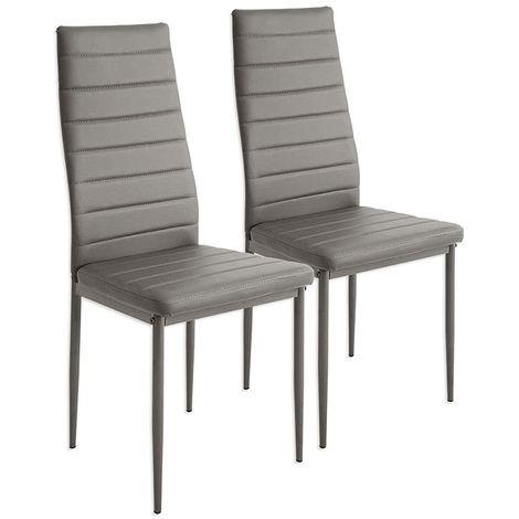 Lot de 2 chaises de salle à manger - Style contemporain - L 40 x P 39 cm