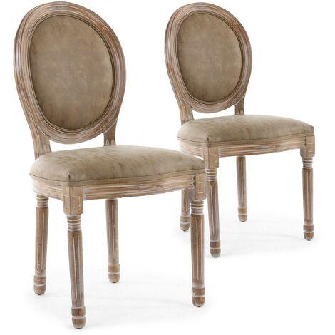 Lot de 2 chaises de style médaillon Louis XVI Bois patiné & simili taupe - Taupe