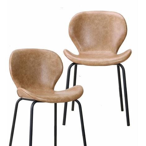 Lot de 2 chaises design tulipe effet cuir marron