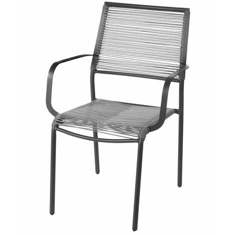 Lot de 2 chaises en acier gris Gris 62.50 cm x 55.00 cm x 84.00 cm - Gris
