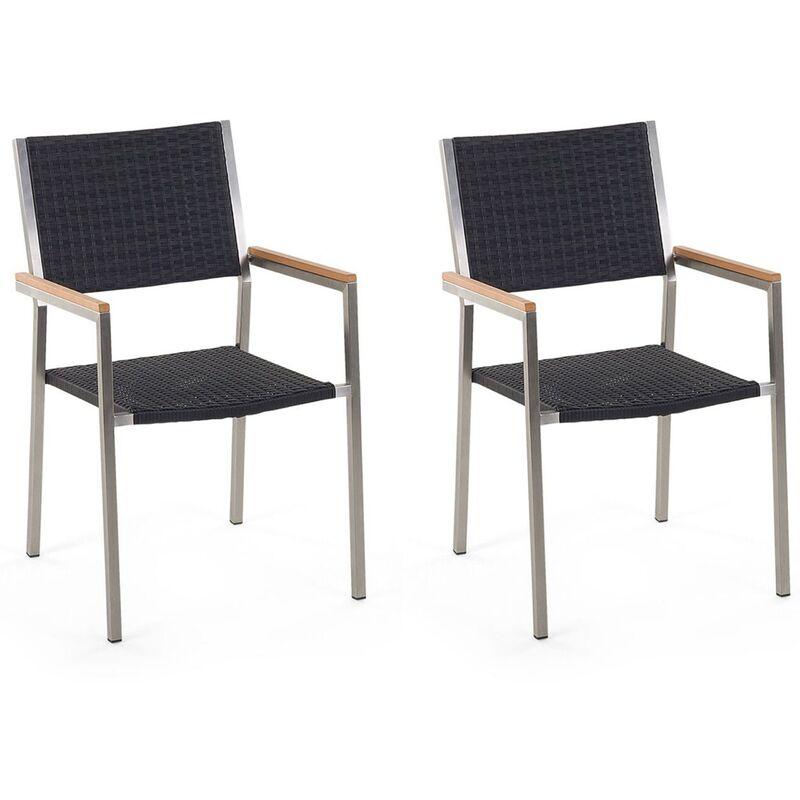 Beliani - Lot de 2 chaises en rotin et en acier GROSSETO