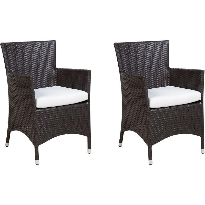 Beliani - Lot de 2 fauteuils de jardin en rotin marron avec coussins blanc cassé ITALY