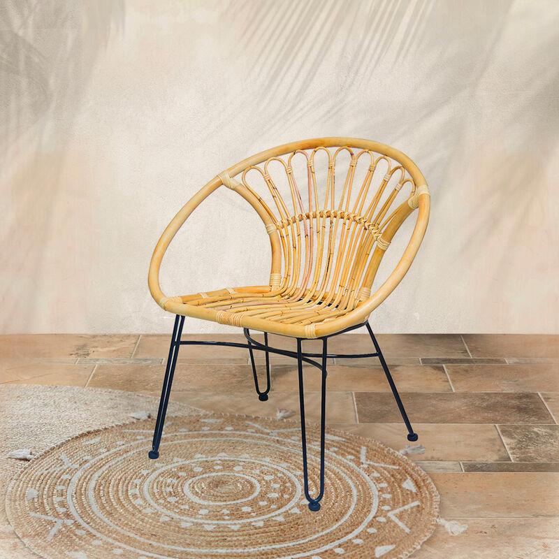 Lot de 2 chaises en rotin naturel et pieds métal NAGA - Naturel - Naturel