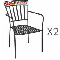 Lot de 2 chaises en verre et métal rouge - DYNO