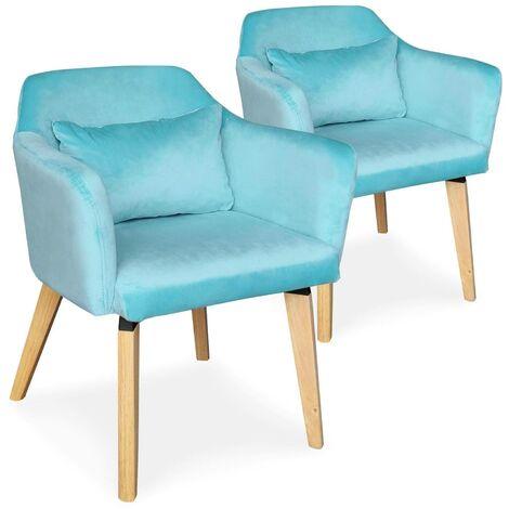 Lot de 2 chaises / fauteuils scandinaves Shaggy Velours Bleu ciel - Bleu clair