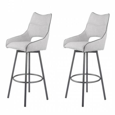 Lot de 2 chaises hautes de bar tissu blanc/gris clair - ROY - Blanc