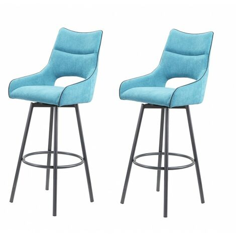 Lot de 2 chaises hautes de bar tissu bleu - ROY - Bleu