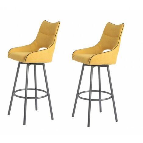 Lot de 2 chaises hautes de bar tissu jaune - ROY - Jaune