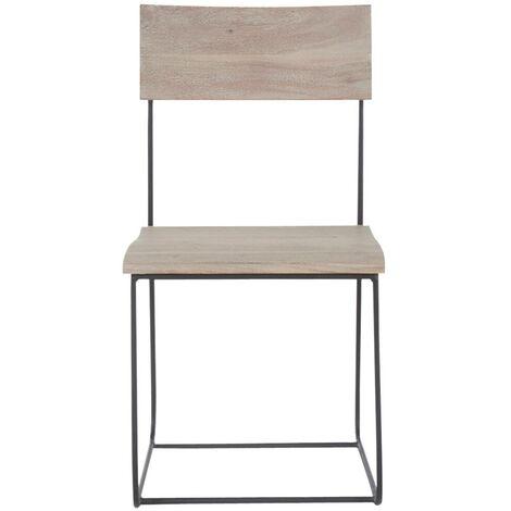 Lot de 2 chaises industrielles assise ondulée - manguier blanchi - Gris clair