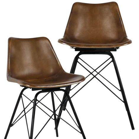 Lot de 2 chaises industrielles Cuir, pieds Tour Eiffel - Aspect cuir