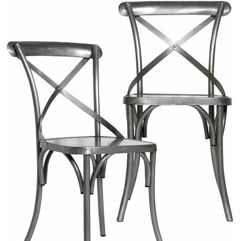 Lot de 2 chaises industrielles dossier croisé 100% métal gris - Gris