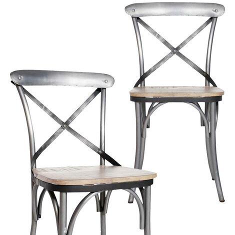 Lot de 2 chaises industrielles dossier croisillons - Métal argente