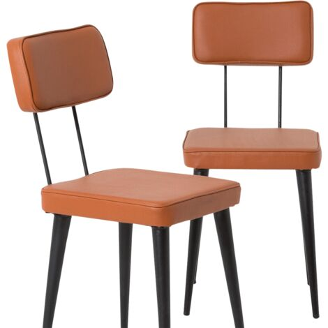 Lot de 2 chaises industrielles effet cuir et métal - Brown