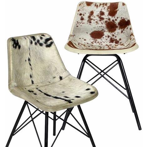 Lot de 2 chaises industrielles en fourrure (couleurs diverses)